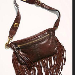 NWT FRYE SACHA Fringe Belt Bag Chocolate Leather